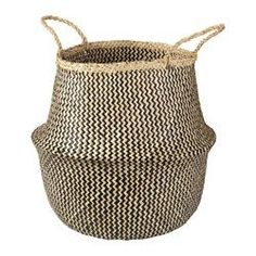 """IKEA - FLÅDIS, Basket, seagrass/black, 14 5/8 """", , You can choose how you want to use this basket – turned up with handles or turned down to display the contents.Storing your belongings in baskets makes it easier to be organized and find what you're looking for.Each basket is woven by hand and is therefore unique."""