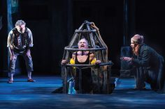 """Roderick Peeples as Sir Toby Belch, David Pichette as Malvolio, and Aaron Galligan-Stierle as Feste in Utah Shakespeare Festival's 2014 production of """"Twelfth Night."""" (Photo by Karl Hugh. Copyright 2014 Utah Shakespeare Festival.) www.bard.org, #utahshakes, #twelfthnight"""
