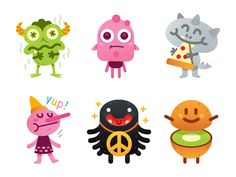 Cute Freak Monsters Emoji - another 6 characters icon creative sweet character flat cartoon mascot illustration funny characters silly monster pizza kiwi emoticon emoji pinocchio peace cute freak Monster Book Of Monsters, Cartoon Monsters, Monster Characters, Simple Character, Funny Character, Character Flat, Instrumental, Cartoon Chicken, Monster Illustration