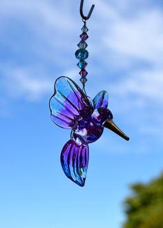 Blown Glass Hummingbird Crystal Suncatcher, Mauve and Blue, Swarovski Crystals, Window Decoration, Christmas Tree Ornament Car Mirror Dangle by BayCreationsbyWendy on Etsy