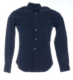 Ralph Lauren Black Label Mens Slim Military Shirt Size S in Navy Blue NWT $245 #RalphLaurenBlackLabel #ButtonFront