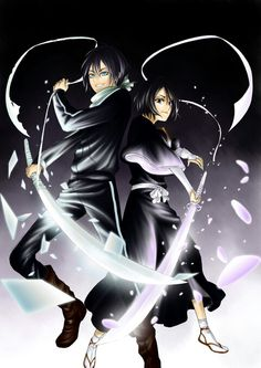 Yato & Rukia (Noragami/Bleach crossover) fanart by Noragami, Awesome Anime, Anime Love, Epic Costumes, Kuchiki Rukia, Bleach Manga, Anime Crossover, Classic Cartoons, Light Novel