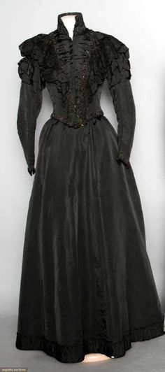 Black dress, silk with jet beading and lace trim  c.1898  Augusta Auctions