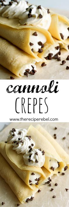 Italian Cannoli Crepes — Soft homemade crepes filled with sweet ricotta cream & chocolate chips, topped with whipped cream & more chocolate chips. An easier spin on traditional cannoli! A breakfast version of an Italian favorite! Delicious Desserts, Dessert Recipes, Yummy Food, Pancake Recipes, Waffle Recipes, Homemade Crepes, Homemade Whipped Cream, Homemade Desserts, Crepes Filling