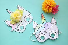 Plantilla de Máscara de Unicornio para Imprimir Gratis.