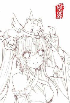 Anime Drawings Sketches, Anime Sketch, Manga Drawing, Cute Drawings, Manga Art, Manga Coloring Book, Cute Coloring Pages, Animal Coloring Pages, Coloring Books