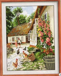 wholesale Farmyard DMC cross stitch kits scenery white print embroidery DIY handmade needlework wall home decor Dmc Cross Stitch, Counted Cross Stitch Kits, Modern Cross Stitch, Cross Stitching, Cross Stitch Patterns, Tapestry Kits, Cross Stitch Landscape, Cross Stitch Pictures, Farm Yard