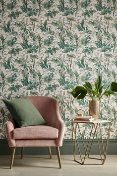 Pretty Celeste wallpaper design featuring lotus flowers and luscious leaves. The perfect pick for a pink and green living room #pinkandgreen #pinkandgreendecor #pinkandgreenwallpaper #floralwallpaper #livingroomdecor #livingroomwallpaper #botanicalwallpaper