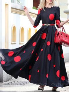 Ericdress Polka Dots Half Sleeve Expansion Maxi Dress Maxi Dresses