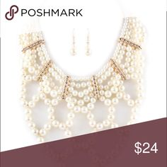 Multilayered Pearl Necklace Set W/Rhinestone 16 Inches + 3 inch ext Jewelry Necklaces