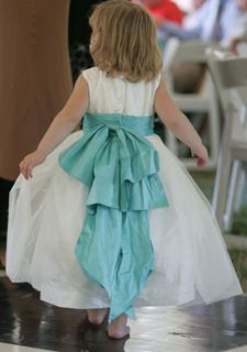Tiffany Blue Sash on White Flower Girl Dress Tiffany Blue Bridesmaid Dresses, Tiffany Blue Weddings, Tiffany Wedding, Bridesmaids, Turquoise Weddings, Bridesmaid Gowns, White Flower Girl Dresses, Girls Dresses, Flower Girls