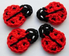 Sweet ladybugs appliques crochet - Lightbluerose - Crochet patches.....ideas