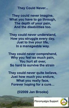 Poem - hoping for a cure * Praise God I do not have fibromyalgia, but I do understand chronic pain and struggle