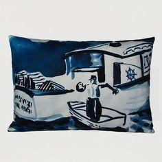 Kevin O'Brien Studio Lobsterboat Decorative Pillow