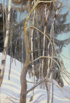 Winter trees are taupe-brown. They may or may not have a green tint to them. Scandinavian Paintings, Scandinavian Art, Contemporary Paintings, Helene Schjerfbeck, Winter Trees, Winter Art, Chur, Romanticism Paintings, Nordic Art