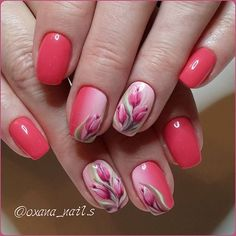 Hot Trendy Nail Art Designs that You Will Love Trendy Nail Art, Cool Nail Art, Spring Nails, Summer Nails, Tulip Nails, Flower Nail Art, Hot Nails, Beautiful Nail Art, Cool Nail Designs