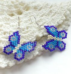 Butterfly Earrings Fluttering Butterflies Seed Bead by Galiga