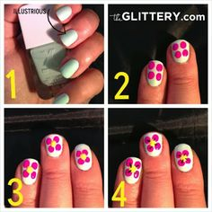 theGLITTERY: hawaii flower tutorial featuring q-tips precision tips! #nailart #flowers