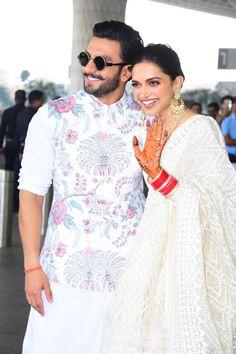 New Married Bollywood Couple - Deepika Padukone & Ranveer Singh Wedding Kurta For Men, Wedding Dresses Men Indian, Wedding Dress Men, Indian Dresses, Indian Outfits, Wedding Pics, Wedding Ideas, Bollywood Couples, Bollywood Celebrities