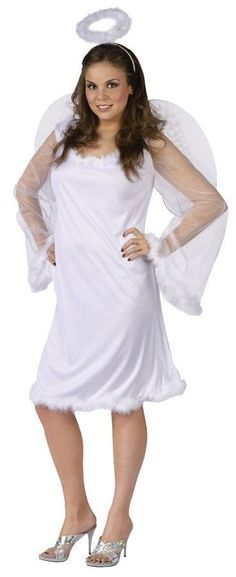 Heaven Sent Costume - Straight from above! The Heaven Sent Costume - Adult Plus Costume Includes white marabou accent dress with white wings and a halo headband. Plus Halloween Costumes, Plus Size Halloween, Adult Costumes, Costumes For Women, Angel Costumes, Women Halloween, Halloween Party, Plus Size Costume, Angel Outfit
