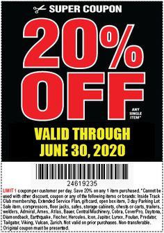 Off Any Single Item at Harbor Freight through June 2020 – Harbor Freight Coupons Harbor Freight Coupon Code, Harbor Freight Tools, 20 Percent Off, Kayaking Gear, Garage Plans, 20 Off, How To Plan, Air Compressors, June 30