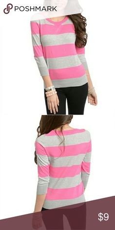 🆕 Jr s size Small Pink and Grey Sweater 100% Cotton. Long Sleeve teaspoon Tops