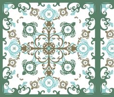 Hawaiian Sea Turtles Cheater Quilt, Seaweed - © Lucinda Wei fabric by simboko on Spoonflower - custom fabric