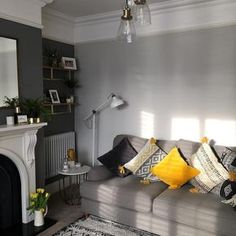Outstanding small living room designs are offered on our site. Have a look and you wont be sorry you did. Room Color Schemes, Room Colors, Colour Schemes For Living Room Grey, Paint Colors, New Living Room, Home And Living, Small Living, Cozy Living, Farrow And Ball Living Room