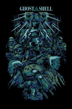 """Alexander Iaccarino """"Ghost in the Shell""""  5 color screen print  20""""x 30"""" regular edition of 150"""