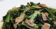 Japanese mustard spinach with garlic and bacon