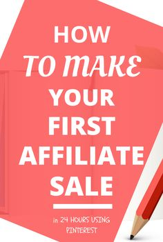 Want to make your first affiliate sale in 24 hours using Pinterest? Whether you're brand new to affiliate marketing or have been doing it a while, this ebook will help you to speed up your sales within hours! Literally. Click to get this ebook!