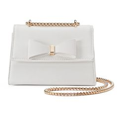Kiss Me Couture Bow Chain Crossbody Bag ($24) ❤ liked on Polyvore featuring bags, handbags, shoulder bags, white, purse crossbody, shoulder handbags, white purse, shoulder strap handbags and crossbody shoulder bags