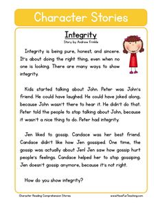 Respect character reading comprehension worksheet resources social studies education worksheets main ideas in paragraphs English Stories For Kids, Moral Stories For Kids, English Story, Learn English, English Moral Stories, English Grammar, Reading Comprehension Worksheets, Reading Fluency, Reading Passages