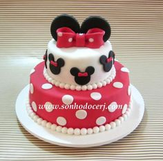 Blog_Bolo_Minnie_ 117[2] Bolo Fake Minie, Bolo Minnie, Birthday Cake With Flowers, 2nd Birthday, Mickey Mouse, Sweets, Desserts, Blog, Disney