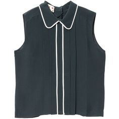 Marni Top ($455) ❤ liked on Polyvore featuring tops, shirts, tanks, cypress, bib front shirt, marni top, marni shirt, round collar shirt and embellished top