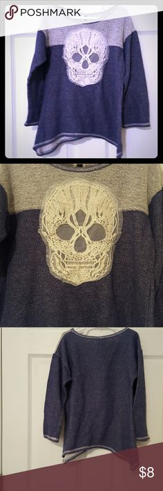 Girls Size 10-12 Skull Sweater Shades of Blue and Off-White. Large skull design on front. 80% cotton 20% polyester lilly bleu Shirts & Tops Sweaters