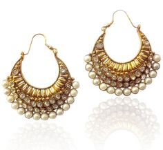 Ethnic Indian Jewelry Bollywood white pearl polki bali ADIVA copper earring tds #ADIVA