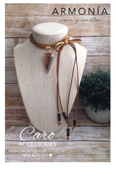 Collar ajustable gamuza metalica. Flecha en by CaroAccessories