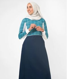 #Blue #Checked Print #Jilbab Islamic #clothing, #Islamic fashion for #Women, art and decor from Silk Route, Visual Dhikr, Aerosol #Arabic and Cute #Culture.