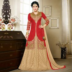 Buy Red - Beige Zari Embroidered Suit online India, Best Prices, Reviews - Peachmode