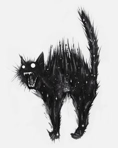 Black and white ink illustration, cat art, cat drawing, cute cat Dark Art Drawings, Animal Drawings, Cool Drawings, Tattoo Gato, Desenho Tattoo, Ink Illustrations, Illustration Art, Creepy Cat, Black Cat Tattoos