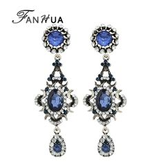 FANHUA Antique Silver Color with Rhinestone Blue Crystal Water Drop Dangle Chandelier Earrings for Women Brincos