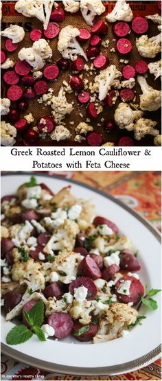 Roasted Greek Lemon Cauliflower and Potatoes with Feta Cheese - so easy and delicious, you'll want to add this to your side dish repertoire Greek Roasted Lemon Cauliflower and Potatoes with Feta Cheese - Jeanette's Healthy Living Greek Recipes, Vegetable Recipes, Real Food Recipes, Vegetarian Recipes, Cooking Recipes, Healthy Recipes, Vegetarian Times, Healthy Side Dishes, Vegetable Side Dishes