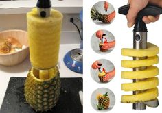 the Vacu Vin Stainless Steel Pineapple Easy Slicer. Simply cut off the top of the pineapple and twist the Pineapple Easy Slicer clockwise like a corkscrew. One turn per pineapple slice or do the whole pineapple. Next, just lift up and the pineapple flesh will be free of the shell, already sliced into rings and cored. Plus you can then use the pineapple shell as a serving bowl or for a tropical drink.