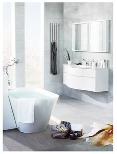 We are specialists in one area: The bathroom. Where we strive to develop the best products in the bathroom furniture, bath, shower and toilet, piece by piece, without losing the overall look. Heated Towel Rail, Vanity Units, Bathroom Furniture, Bathroom Inspiration, Toilet, Chrome, Bathtub, The Unit, Shower