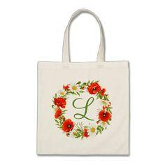 Custom Poppies Daisies Monogram Flower Wreath Tote Bag - #chic gifts diy elegant gift ideas personalize