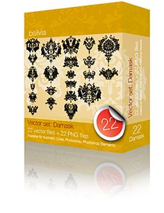 Damask Vector Set (22) is delivered in following formats:  1. .ai (all CS versions from 8.0)  2. .eps format  3. .cdr (Corel 8.0 up to newer versions)  4. .png (so you can easily use them in any photo editing software)  5. .svg (SVG, or scalable vector graphics files can be read and modified by a large range of tools)  Commercial license included!  #graphic #vector #damask #digiscrap $19.99