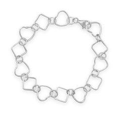 """8"""" Heart and Diamond Shape Link Bracelet"""