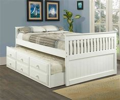 White full size trundle captains bed Kids Bedroom Furniture captain's beds and captain bed with storage and trundle bed.  Thinking full size trundle beds are best for new bedrooms for the girls.