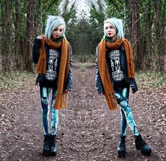 Ebay Platform Boots, Poprageous Qinni Ghibli Leggings, Monki Mustard Yellow Scarf, Stay Creepy Clothing 'Roots' Sweatshirt, Unif Americana Moto Jacket